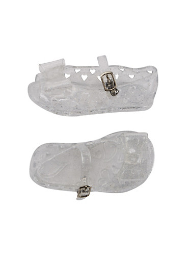 Baby Girl Glitter Jelly Mary Jane Flats with Peep Toe and Bow Detail,CLEAR,large