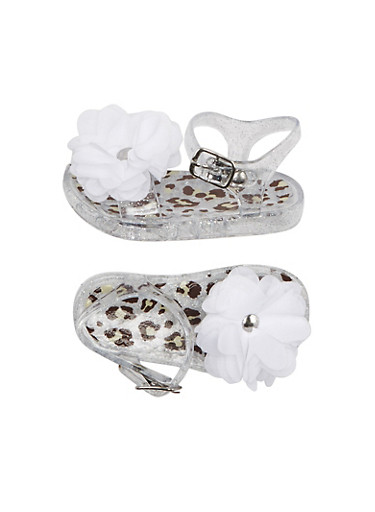 Baby Girl Glitter Leopard Print Jelly Sandals with Ruffle Flower Accent,CLEAR,large