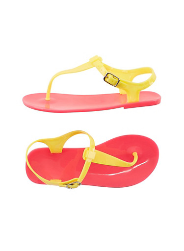 Girls Colorblock Jelly Thong Sandals,YELLOW/H.PINK,large