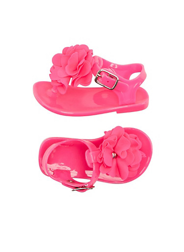 Baby Girl Jelly Thong Sandals with Ruffle Flower Accents,BRIGHT PINK,large