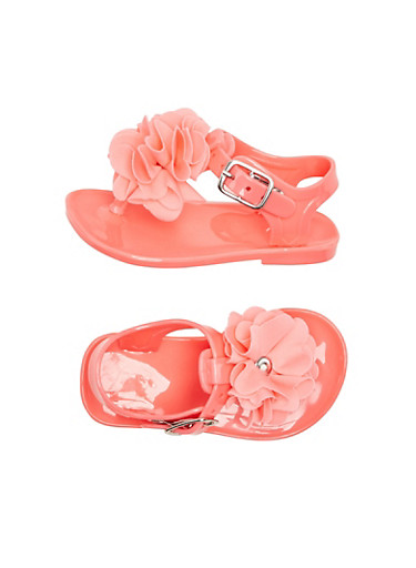 Baby Girl Thong Sandal with Ruffle Flower,CORAL,large