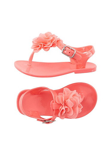 Toddler Girls Jelly Thong Sandals with Flower Applique,CORAL,large