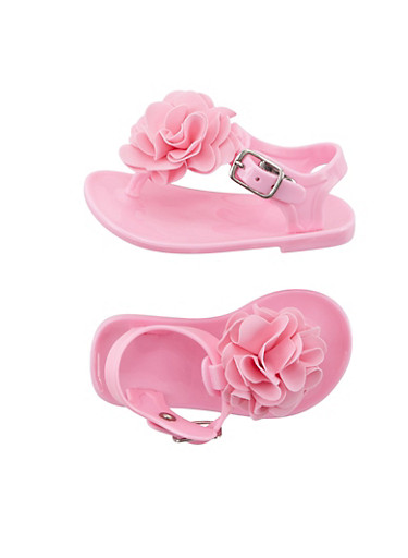 Baby Girl Jelly Thong Sandals with Flower Applique,BLUSH,large