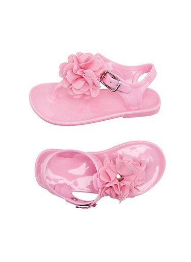 Toddler Girls Jelly T Strap Sandals with Ruffle Flower Accents,BLUSH,large