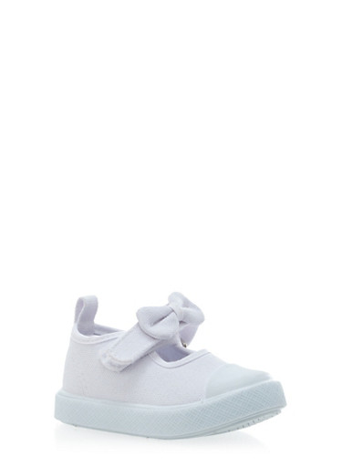 Baby Girl Sneakers with Bow Strap,WHITE,large