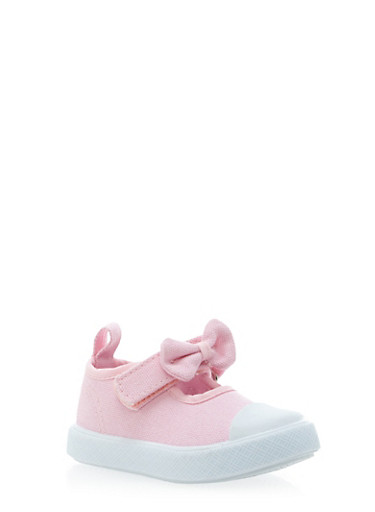Baby Girl Sneakers with Grip Tape Bow Strap,LT. PINK,large