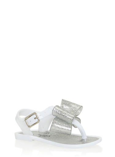 Girls 6-10 Glitter White Thong Jelly Sandals with Bow,WHITE,large