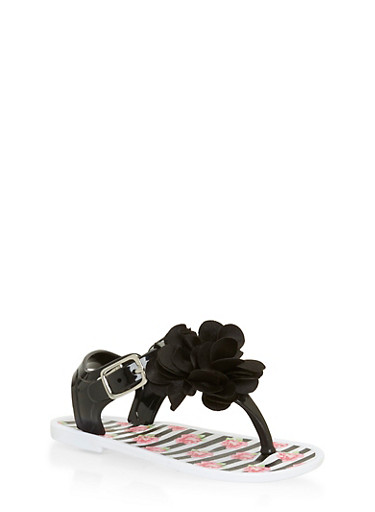 Girls 6-10 Black and White Floral Thong Jelly Sandals,BLACK/WHITE,large