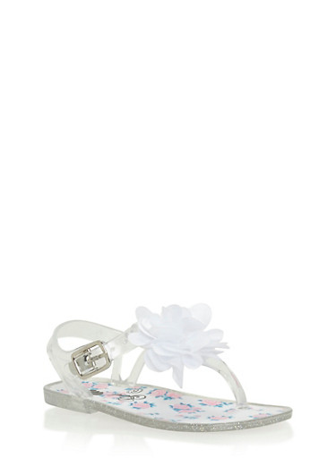Girls 6-10 Clear Floral Thong Jelly Sandals,CLEAR,large