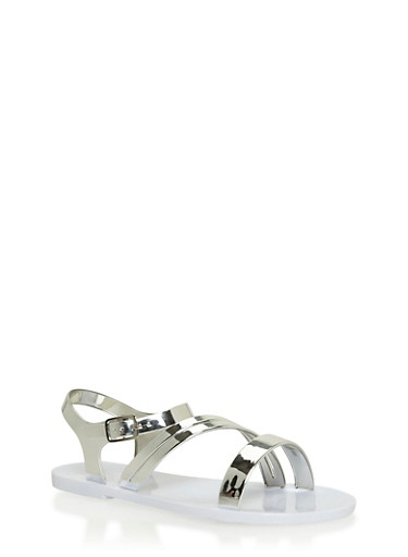 Girls 11-3 Metallic Jelly Sandals with Buckle Closure,WHITE,large
