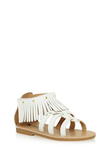 Girls 6-10 Gladiator Fringe Sandals with Velcro Strap,WHITE,large
