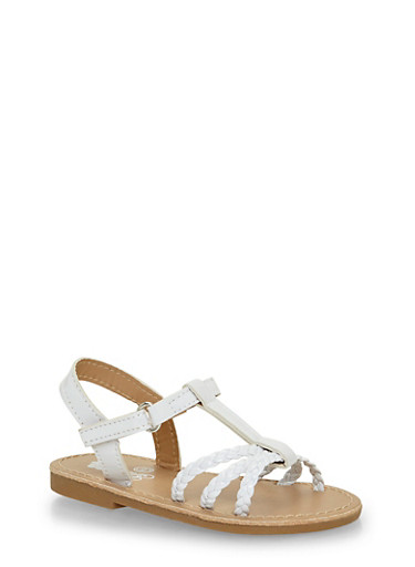 Girls  6-10 White Faux Leather Braided Sandals,WHITE,large