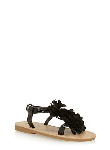 Girls 6-10 Black Patent Faux Leather Sandals with Flower Accent,BLACK,large