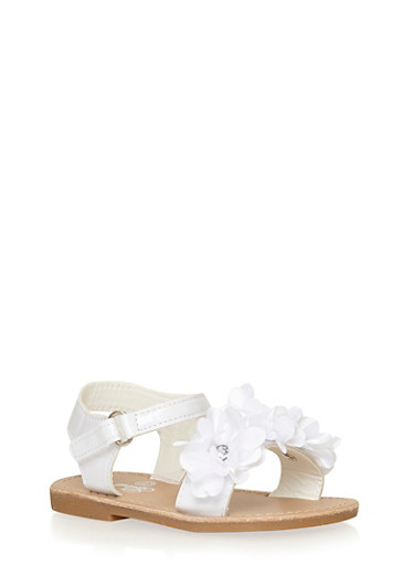 Girls 6-10 White Faux Leather Studded Flower Sandals,WHITE,large