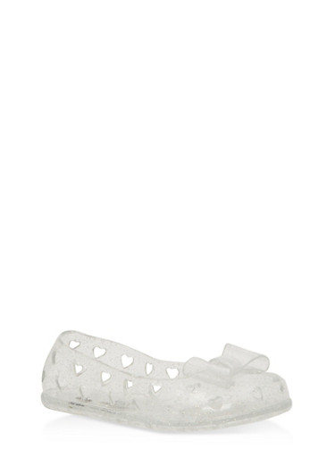 Girls 6-10 Glitter Heart Jelly Flats,CLEAR,large