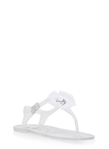 Girls 11-3 Ribbon Flower Jelly Thong Sandals,CLEAR,large