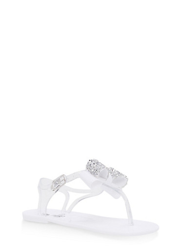 Girls 11-3 Rhinestone Bow Jelly Thong Sandals,CLEAR,large