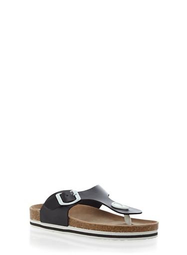 Girls T-Strap Footbed Sandal with Strap,BLACK,large