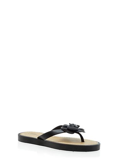 Girls Flower Comfort Thong Sandal,BLACK,large
