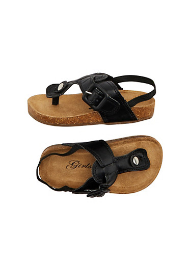 Toddler Girls T Strap Slingback Sandals,BLACK,large