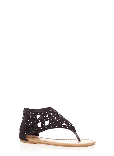 Girls Cutout Rhinestone Sandals with Zippered Heel,BLACK,large