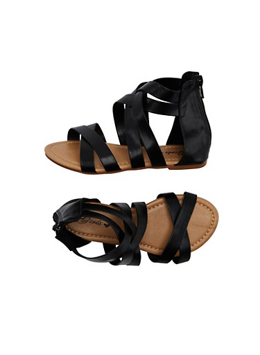 Girls Ankle Gladiator Sandals With Zipper,BLACK,large