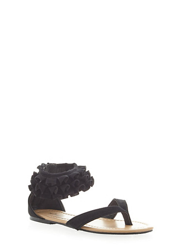 Girls Tiered Ruffle Ankle Strap Sandals,BLACK,large