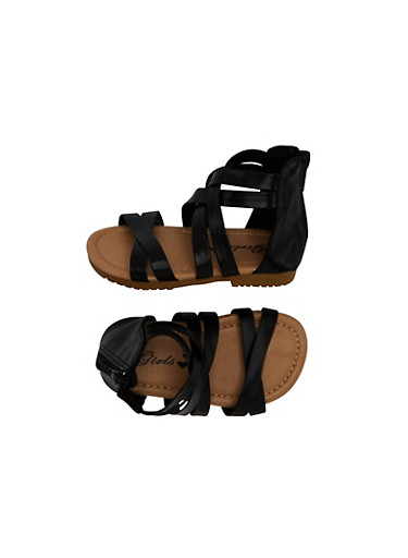 Toddler Girls Strappy Ankle Gladiator Sandals with Zipper,BLACK,large