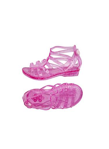 Toddler Girls Gladiator Jelly Sandals with Snap Buttons,FUCHSIA,large