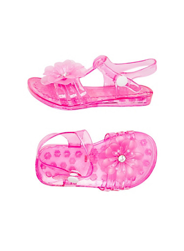 Toddler Girls Open Toe Flower Jelly Sandals with Rhinestone Accents,FUCHSIA,large