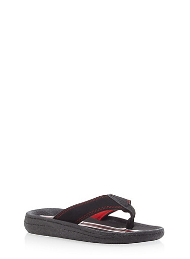 Boys Thong Sandals,BLK/RED,large