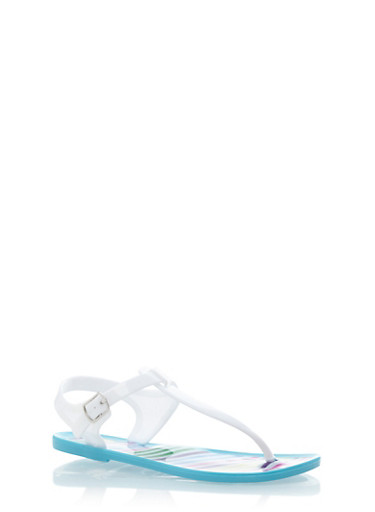 Girls Jelly Thong Sandals with Printed Detail,WHT/TURQ,large