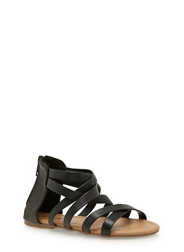 Girls 10-4 Gladiator Sandals,BLACK,large