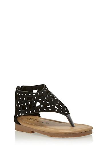 Girls 5-11 Studded Lasercut Thong Sandals,BLACK,large
