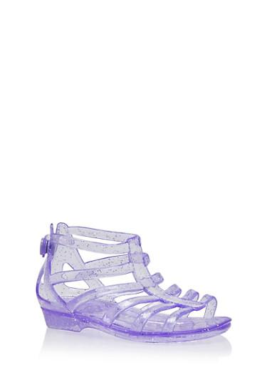 Girls 5-11 Glitter Jelly Gladiator Sandals,PURPLE,large