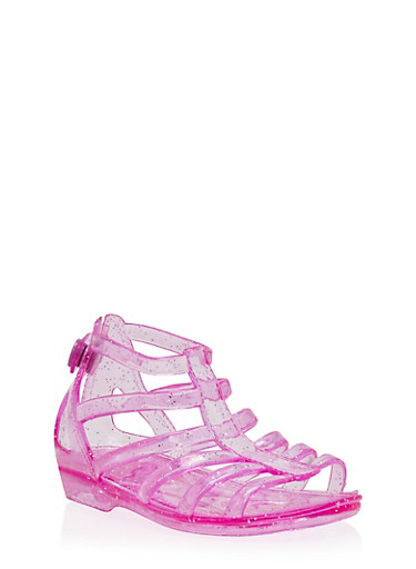 Girls 5-11 Jelly Gladiator Sandals with Snap Back,FUCHSIA,large