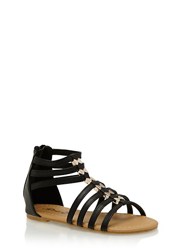 Girls 11-4 Bow Studded Gladiator Sandals,BLACK,large