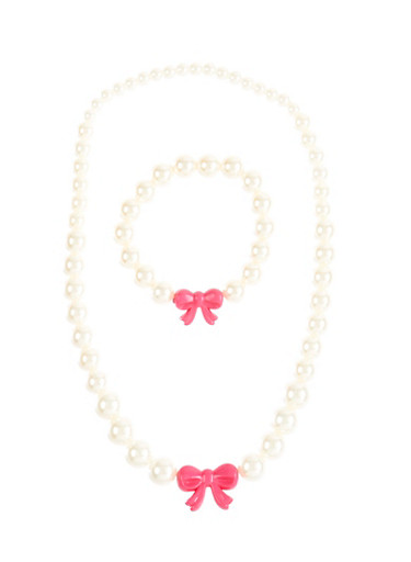 Girls Faux Pearl And Bow Charm Necklace With Matching Bracelet Set,MULTI COLOR,large