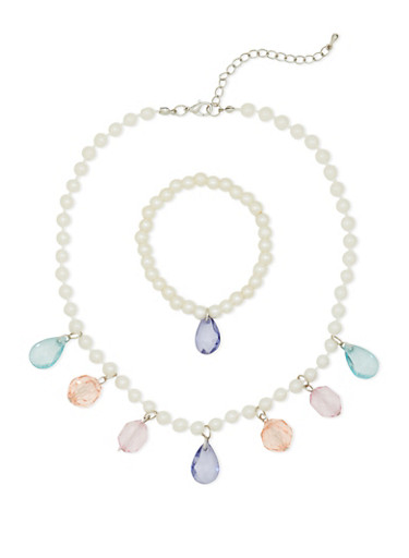 Girls Faux Pearl Necklace and Bracelet Set with Faux Jewels,MULTI COLOR,large