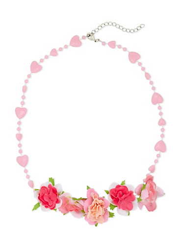 Girls Beaded Heart Necklace with Roses,MULTI COLOR,large