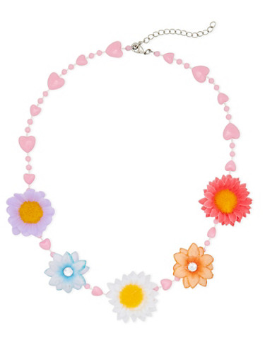 Girls Beaded Heart Necklace with Daisies,MULTI COLOR,large