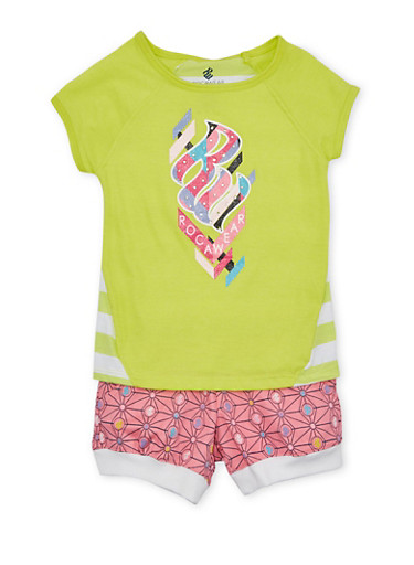 Girls 4-6x Rocawear Logo Top and Shorts Set,LIME,large