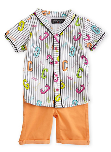 Girls 4-6x Coogi Baseball T-Shirt and Shorts Set,CORAL,large