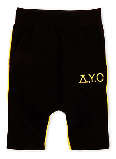 Boys 4-7 Dropped Crotch French Terry Shorts,BLACK,large