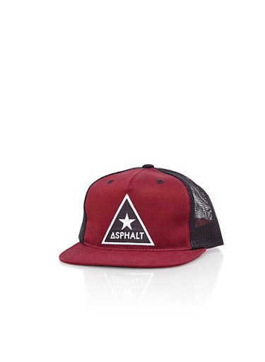 Boys Asphalt Triangle Patch Maroon Snapback with Mesh Back,RED,large
