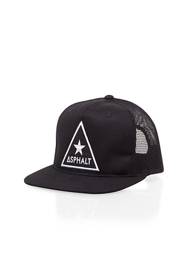 Boys Asphalt Snapback with Star Triangle Patch,BLACK,large