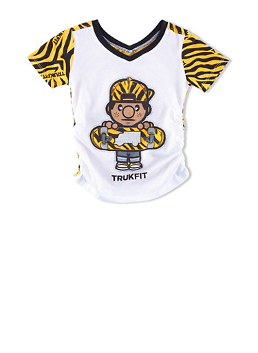 Girls 4-6x Trukfit Top with Glitter Skater Graphic and Tiger-Print Back,WHITE,large