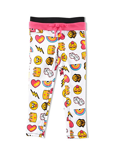 Girls 4-6x Trukfit Jeggings with Mixed Emoji Graphic and Contrast Foldover Waistband,WHITE,large