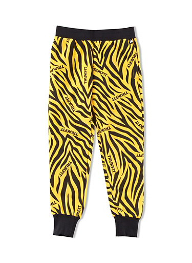 Girls 4-6x Trukfit Joggers with Tiger Graphic and Ribbed Waist,BLACK,large