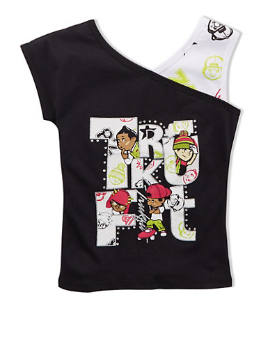 Girls 4-6X Trukfit Graphic Asymmetrical Neck Tank,BLACK,large